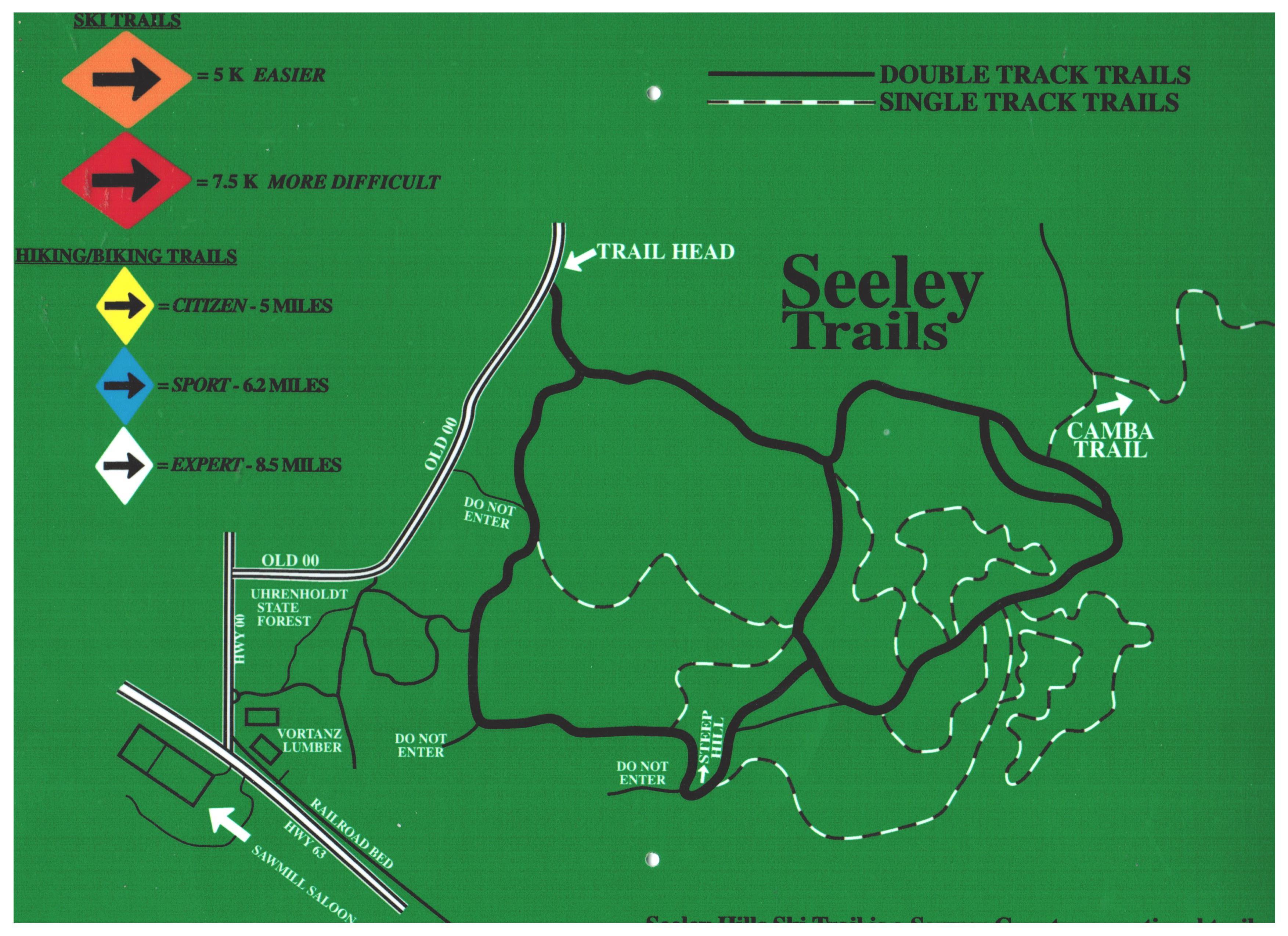 Seeley Hills Trail Map Seeley Lions Club Hayward Wisconsin